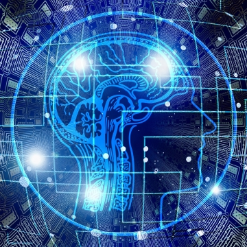 A graphic of a human brain on a blue background, with microchip connections coming out of it, and four bright lights.