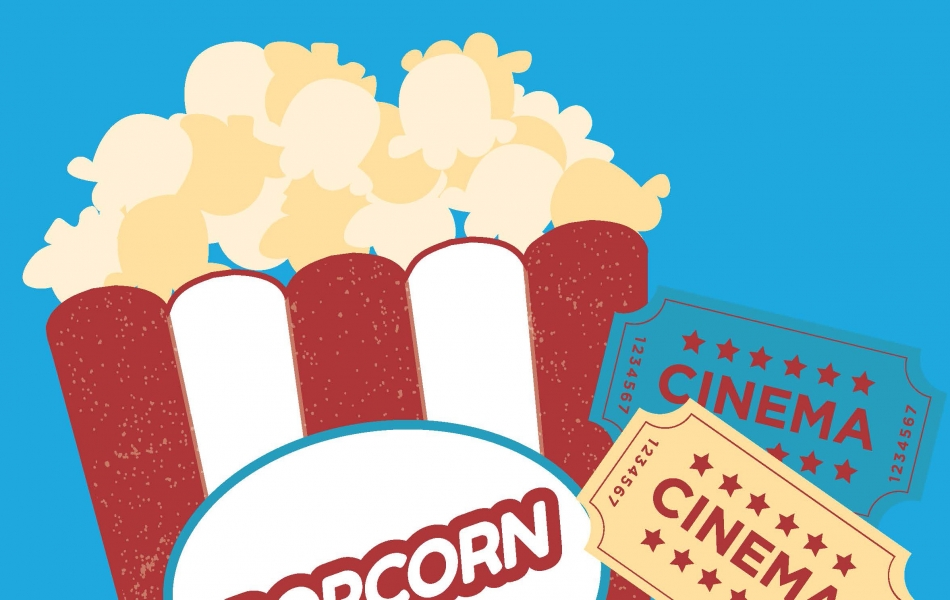 An image of popcorn and two movie tickets against a blue background