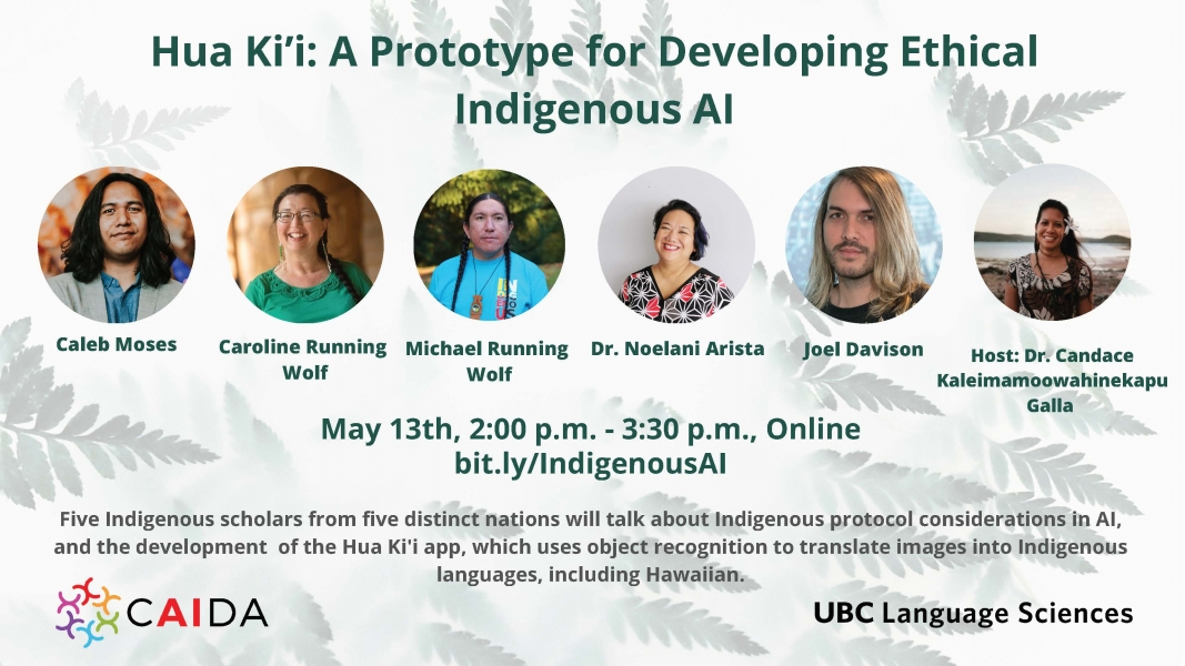 An image of the poster for the talk with ferns in the background and headshots of the five speakers and the host