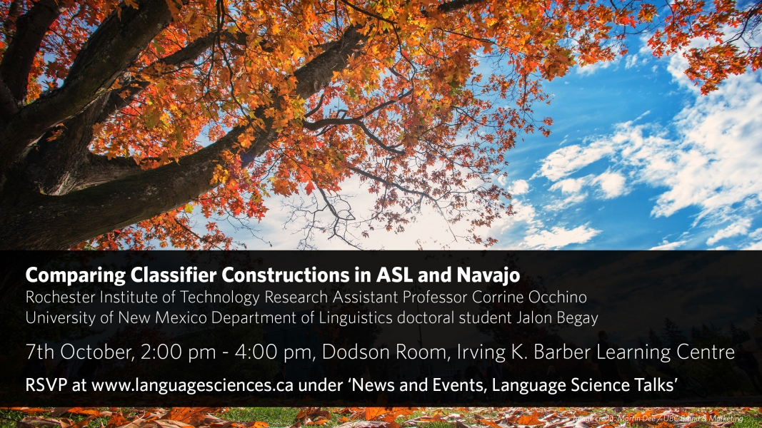 A poster for the talk Comparing Classifier Constructions in ASL and Navajo, featuring event information and a picture of an oak tree in autumn, with red and orange leaves, against a blue sky with white clouds
