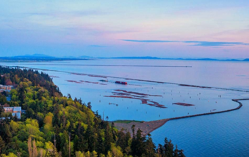 This picture shows a view out over the Georgia Strait, overlooking the logging bay by Marine Drive