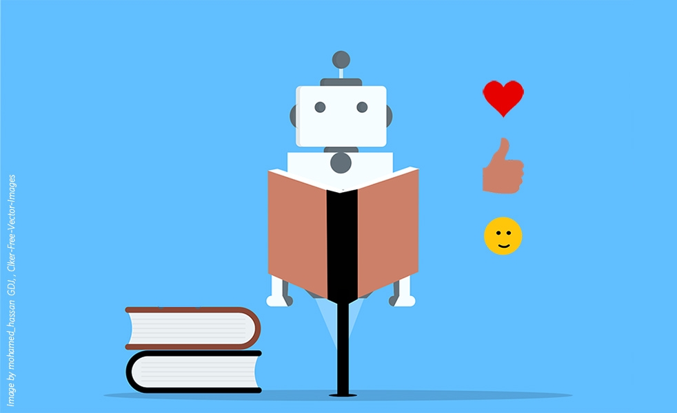 An illustration of a robot reading a book with a heart, thumbs up and smiley face emoji next to it, on a light blue background