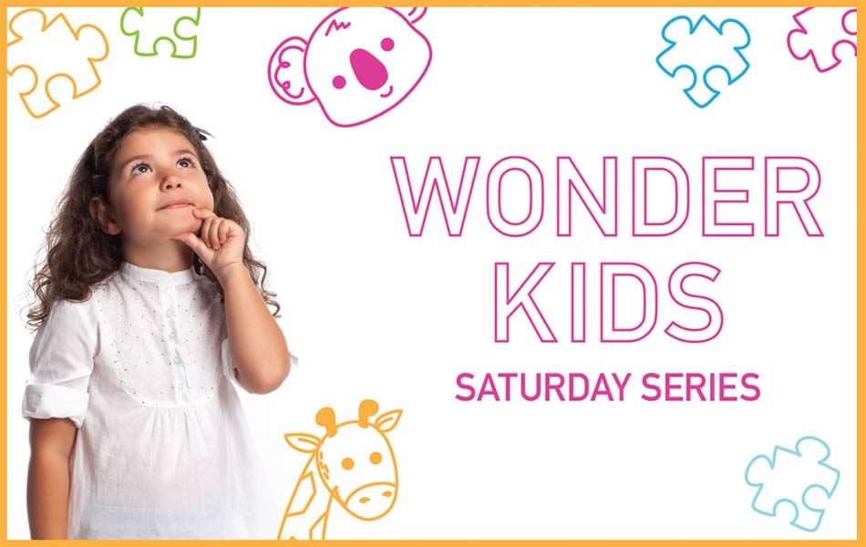 A little girl in a white dress is looking up towards the sky with her finger and thumb on her chin. Behind her are colorful jigsaw pieces and cartoons of a koala in pink and a giraffe in yellow. Words in pink bubble letters say Wonder Kids speaker series