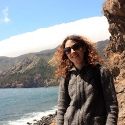 A photo of Dr. Dianne Newbury standing on the shores of Robinson Crusoe Island, with the ocean and part of the island in the background. She is wearing a grey jumper and sunglasses.