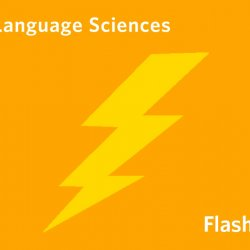 An orange background with a yellow lightning bolt and the words UBC Language Sciences Flash talks in white