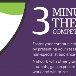 A section of the 3 minute thesis competition poster, with a purple background and a white and green shape on the left