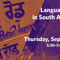 The poster for the Language Politics and Policy in South Asia and the Himalaya event detailing that it will be held on September 19 from 5.30pm in the CK Choi Building at UBC Vancouver