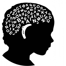 A silhouette of a childs head with brain made of letters wearing a hearing aid
