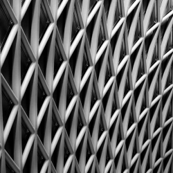 A black and white image of a latticed wall