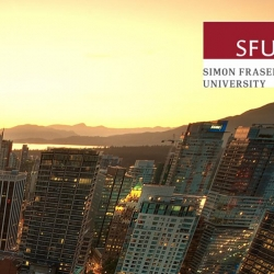 A picture of the Vancouver waterfront at sunset, with skyscrapers in the foreground and the sea in the background, as well as UBC and SFU logos in the top right corner