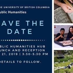 A poster for the Public Humanities Hub launch, with pictures of hands flipping an old book, students gathered around a map, and a play being performed in an outdoor, grassy amphitheatre