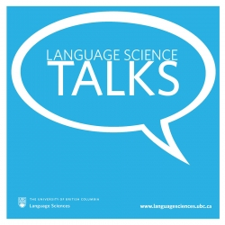 A white speech bubble with the words Language Science Talks inside it in white, on a light blue background