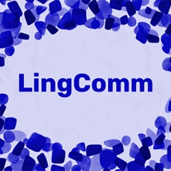 An image of the LingComm poster, featuring blue splotches around the word LingComm on a lavender background