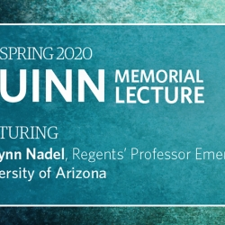 A poster for the Quinn Memorial Lecture, with the text in white on a blue-green background