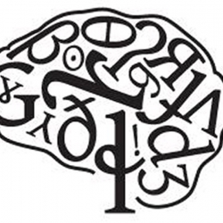 A silhouette of a human brain filled with letters and characters in black and white
