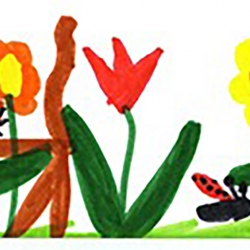 A child's drawing of flowers, with orange daisies, a red tulip and a yellow flower, with a red ladybug