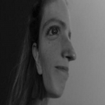 A photo with a visual effect displaying Nicole Sugden's face on its side and straight on