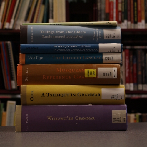 A picture of some of the books in UBC Press' First Nations Language Series, available at Xwi7xwaLibrary