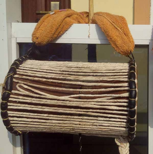 A picture of a talking drum from the western part of Nigeria, West Africa, credit: Bamidele S. Ajayi