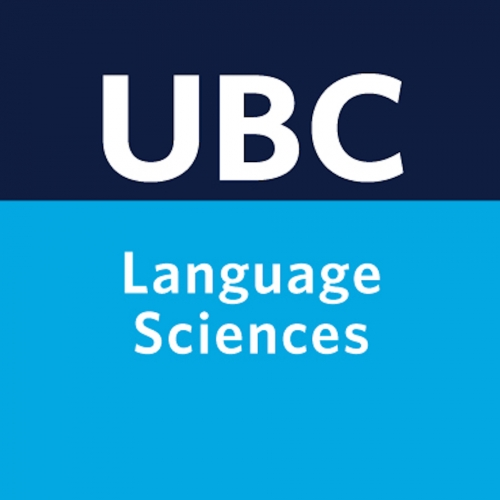An image of the Language Sciences Twitter avatar, featuring a dark blue strip with UBC written on it, then a light blue stripe with Language Sciences written on it in white